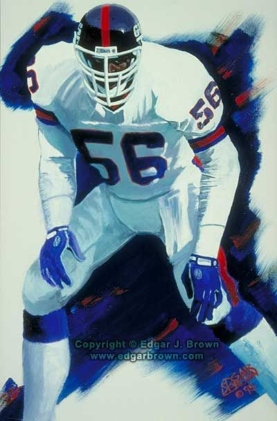 Lawrence Taylor #56 New York Giants Hall of Famer by artist Edgar J Brown