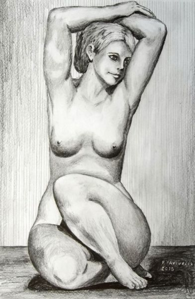 Peter Pavluvcik - naked female figure, drawing, pencil.