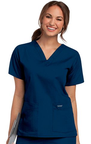 A classic that comes in almost every color and print you can imagine--good luck deciding! V-neck with set-in sleeves and four pockets with pencil/instrument division. Four-inch side vents. 65% Polyest