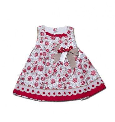 Vestido infatil en piqué estampado en tonos rojos, blanco y beige - Vestidos para Bebé y Niña hasta los 4 Años - Mundo Kiriko #vestido #niña #verano