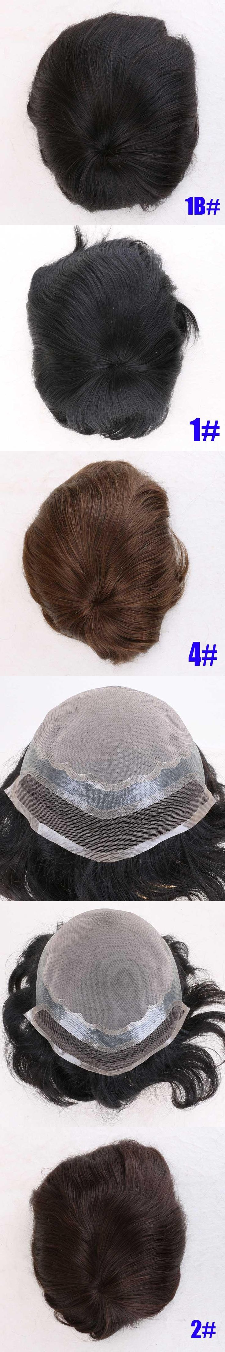 "Alicrown Hair 8""x6"" Men's Remy Human Hair Toupee Bleached Knots Swiss Lace In Front Mono Lace With Transparent Thin Skin Around"