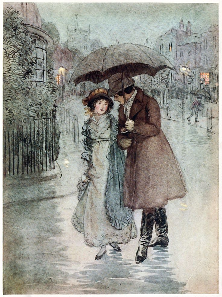 It was raining, and my face was wet.  Hugh Thomson, from Quality street, a comedy in four acts, by James Matthew Barrie, London, 1913.