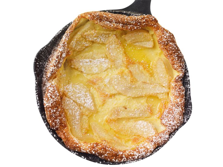 Dutch Baby : Mix 4 eggs, 1 cup milk, 2/3 cup flour, 1/2 stick melted butter, 3 tablespoons sugar and a little vanilla in a blender. Melt some butter in a cast-iron skillet. Add 1 sliced pear, then the batter; bake at 375 degrees F, 35 minutes. Dust with confectioners' sugar.