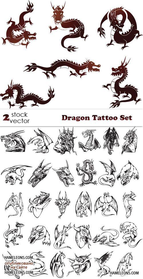 Дракон - татуировки в  векторе | Vector Dragon Tattoo