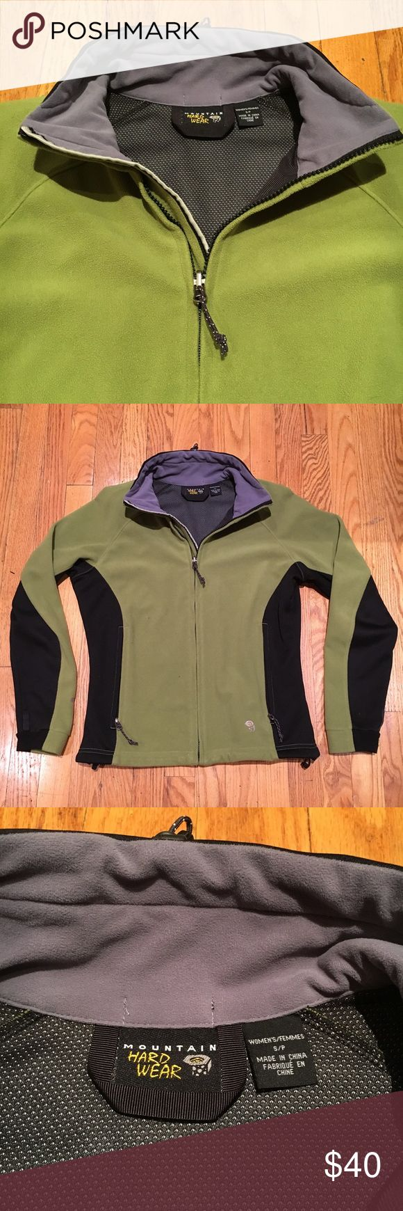 Mountain Hard Ware zip pullover Excellent condition; it has been a great jacket. Comfy and light, great for fall. The color is more accurately depicted in the first photo, it's a vibrant green. Mountain Hardwear Jackets & Coats Utility Jackets