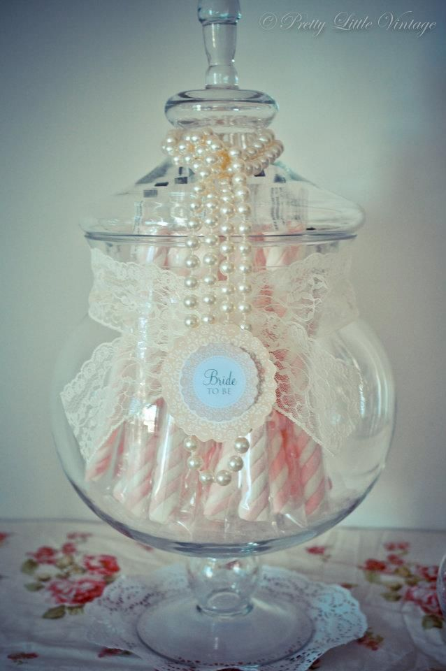 Perfect for a Bridal Shower or wedding sweetie table - love the use of vintage lace and pearls.