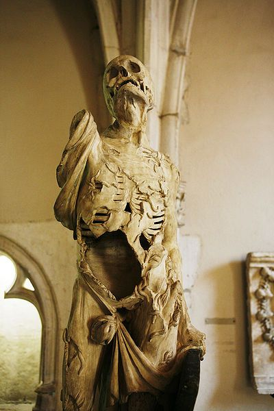Écorché, or flayed man, by Ligier Richier. On display at Musee des Beaux Arts, Dijon France