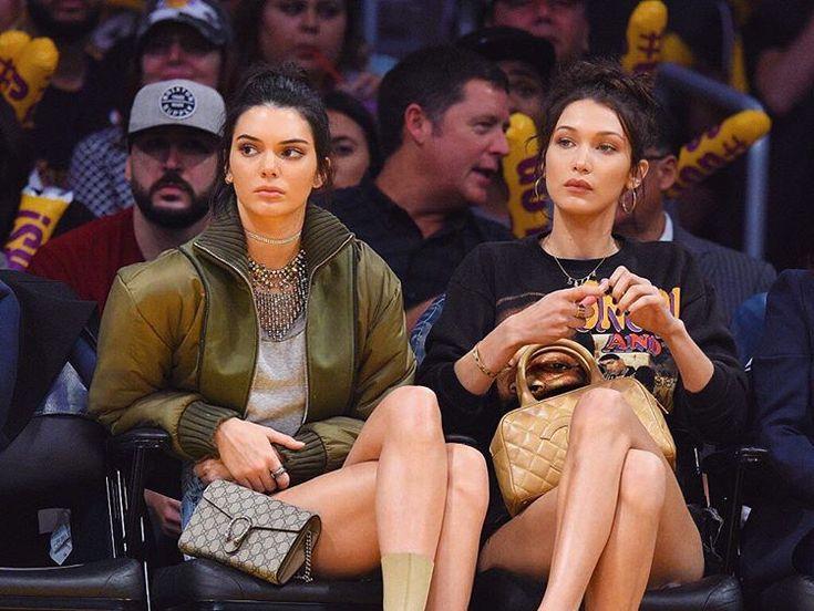 Kendall Jenner and Bella Hadid at a LA Lakers game November 8, 2016
