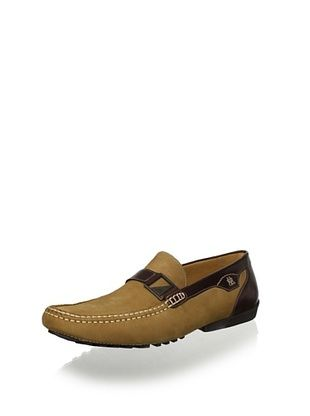 Mezlan Men's Slip on Driver with Strap and Buckle (Taupe/Brown)