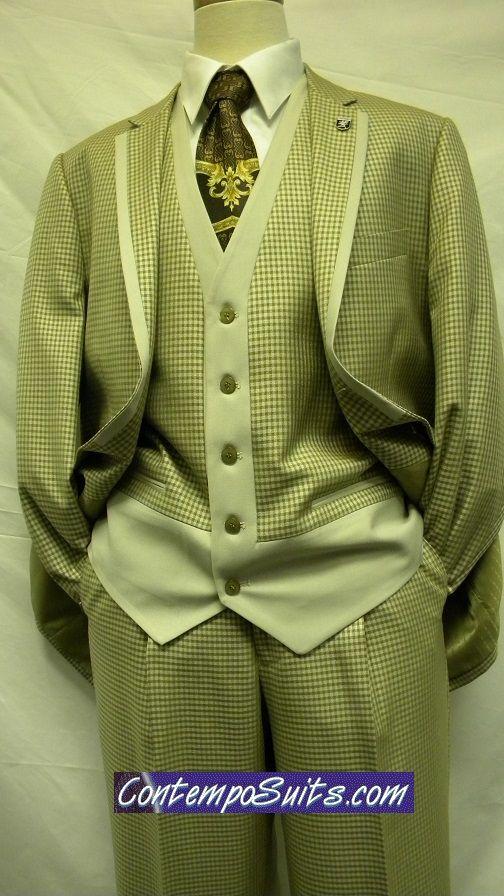 Stacy Adams 4 Piece Sage Tweed Ego Fashion Suit 5034-143