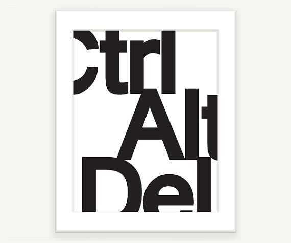 Typographic print ctrl alt del black and white typography poster print or by colorbee