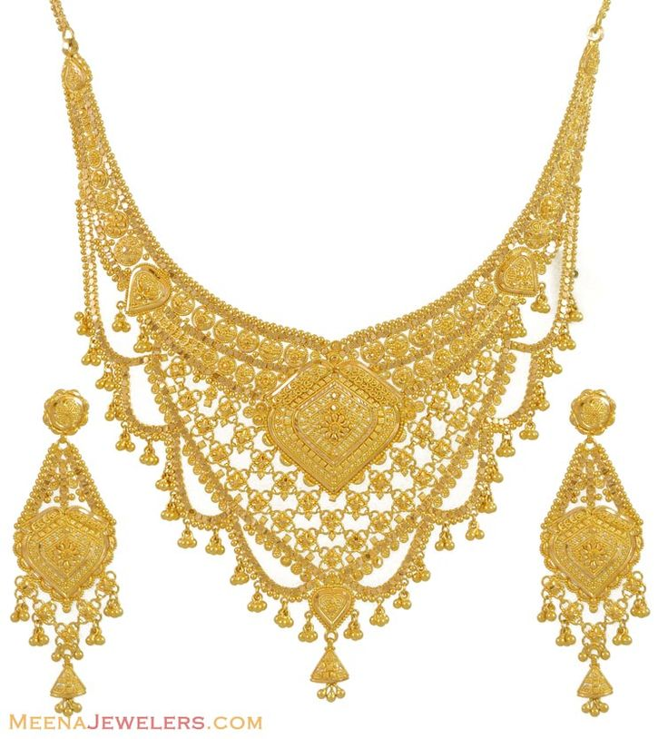 Gold necklace and earrings set 22kt indian jewelry with intricate jasmine pinterest Design and style fashion jewelry