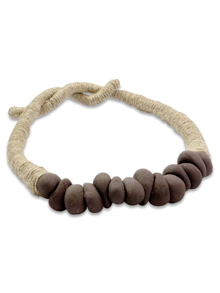 PRIMORDIAL PEBBLES: Necklace  Collection: Primitive  Materials: Ceramic and natural linen cord
