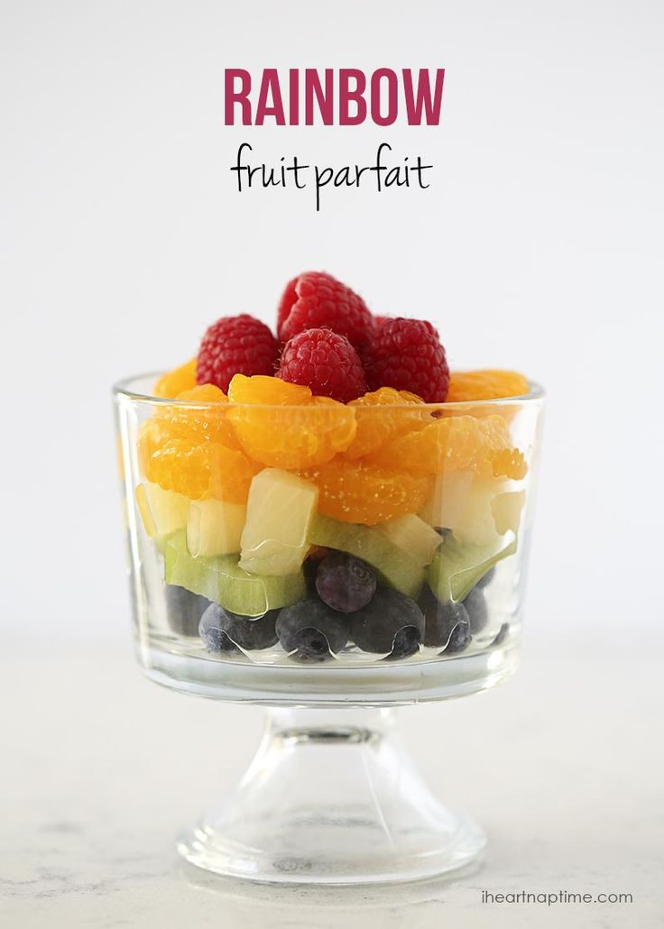 Rainbow fruit parfait. A healthy way to celebrate St. Patrick's day!