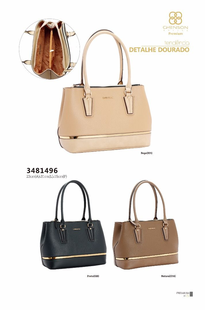 8ebdf06a4 Bolsa feminina Chenson detalhe dourado 3481496 - Bergamoda Bolsas e  Acessórios