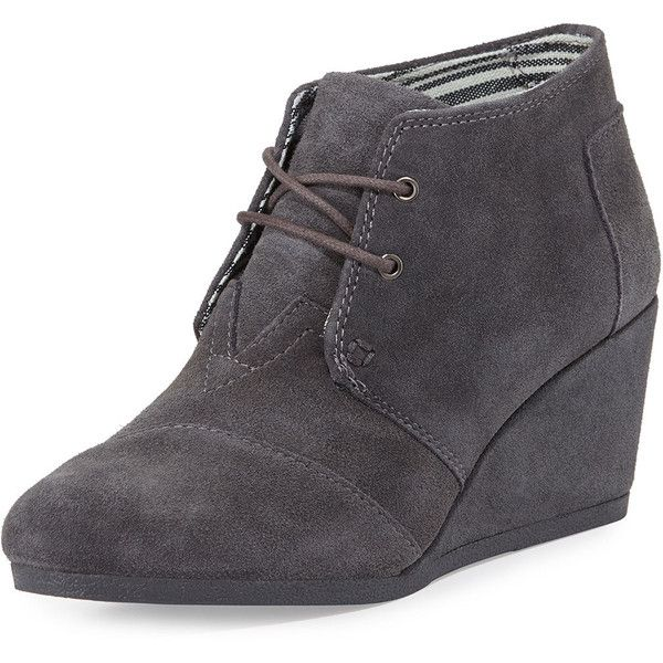 TOMS Suede Desert Wedge Bootie (125 CAD) ❤ liked on Polyvore featuring shoes, boots, ankle booties, dark gray, suede ankle booties, bootie, wedge bootie, lace up boots and suede bootie