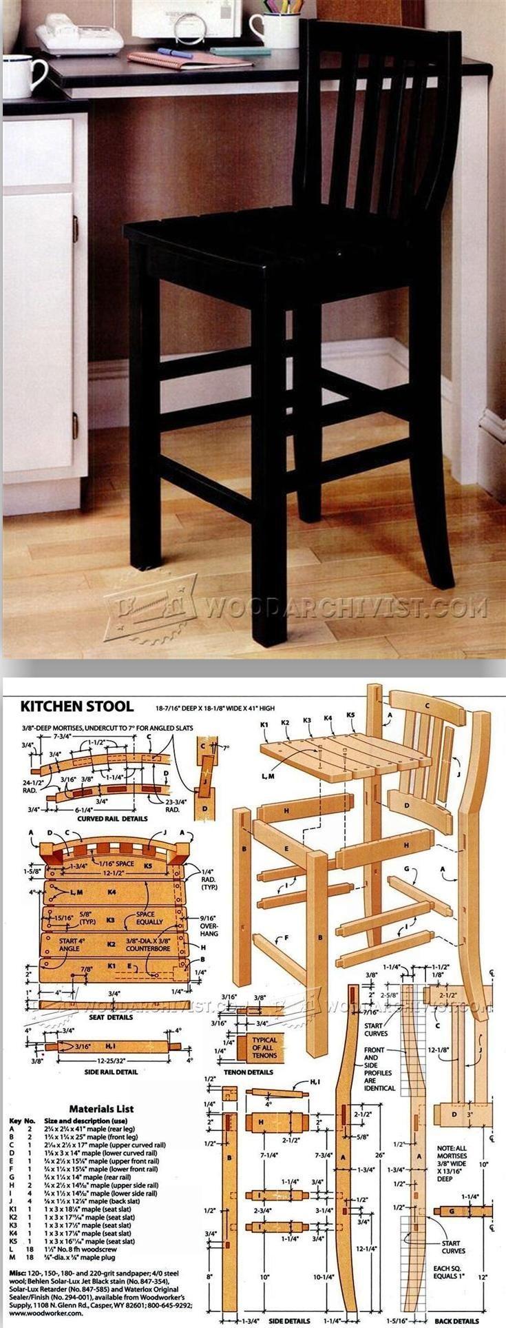 Morris chair plans - Kitchen Stool Plans Furniture Plans And Projects Woodarchivist Com