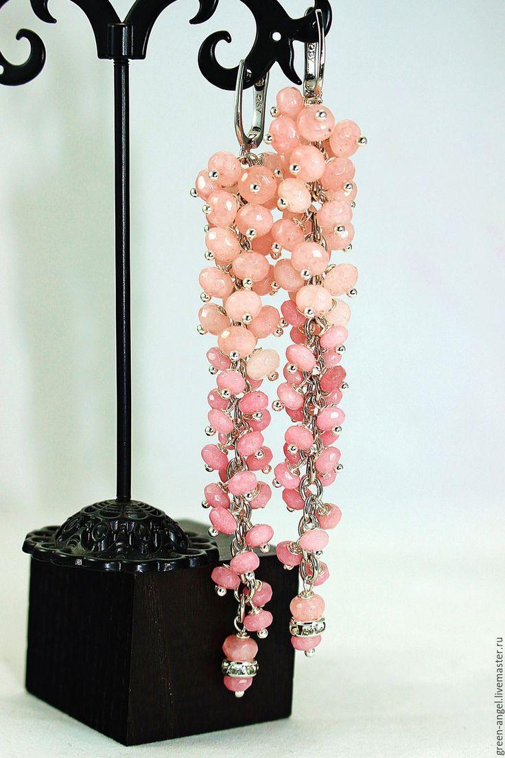 Купить Серьги «Зефирные сумерки». - бледно-розовый, розовый кварц, розовый, розовые серьги