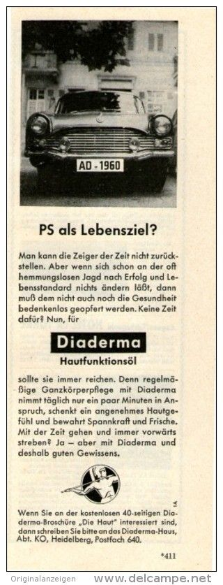 Original-Werbung/Inserat/ Anzeige 1960 - DIADERMA - ca. 80 X 210 mm