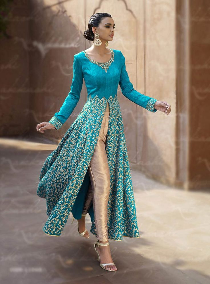 Buy Blue Bhagalpuri Designer Anarkali Suit 67963 online at lowest price from vast collection at m.indianclothstore.c.