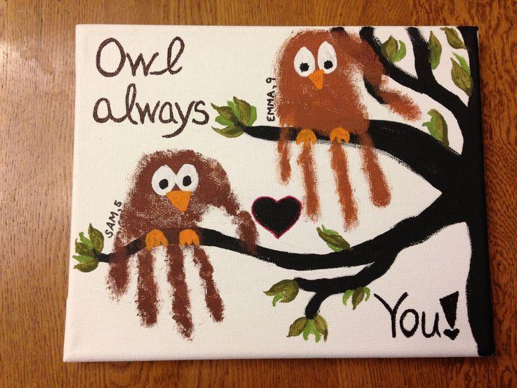 Owl always love you handprint art