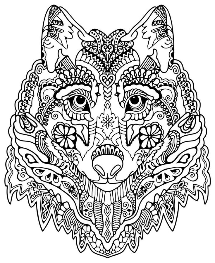 Wolf Abstract Doodle Zentangle Coloring Pages Colouring Adult Detailed Advanced Printable Kleuren Voor Volwassenen Coloriage Pour
