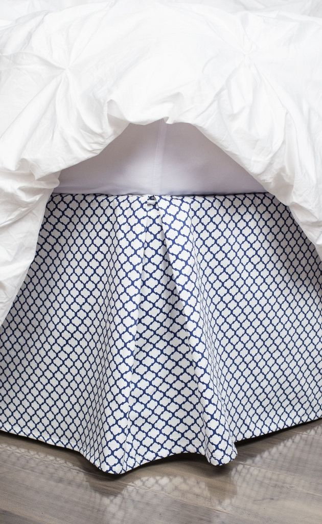 "The prettiest patterned bed skirt for the perfect finishing touch. Create the look of a beautiful bed with this 300 thread count Navy Blue Cloud Bed Skirt.  Available in a 14"" or 18"" drop."