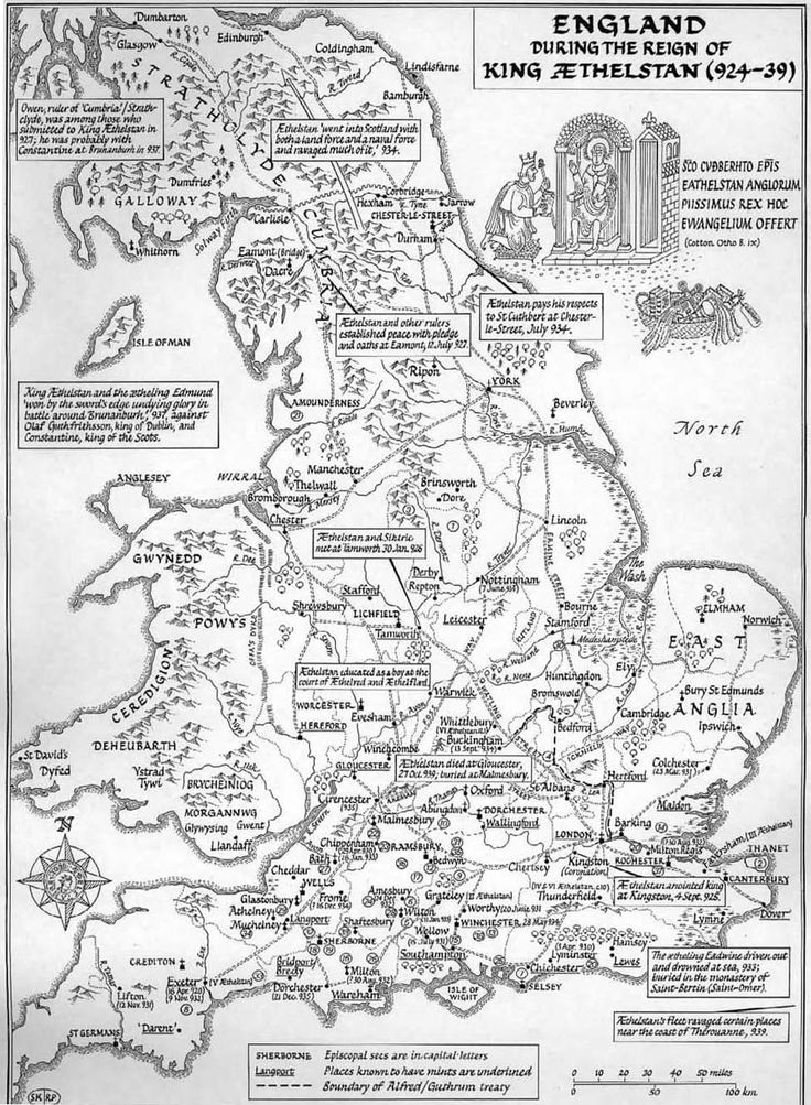 A large-scale map of Britain (up to Edinburgh) in the reign of King Æthelstan (924-39), showing settlements, bishoprics, and known mints, with lots of historical notes in the margins.