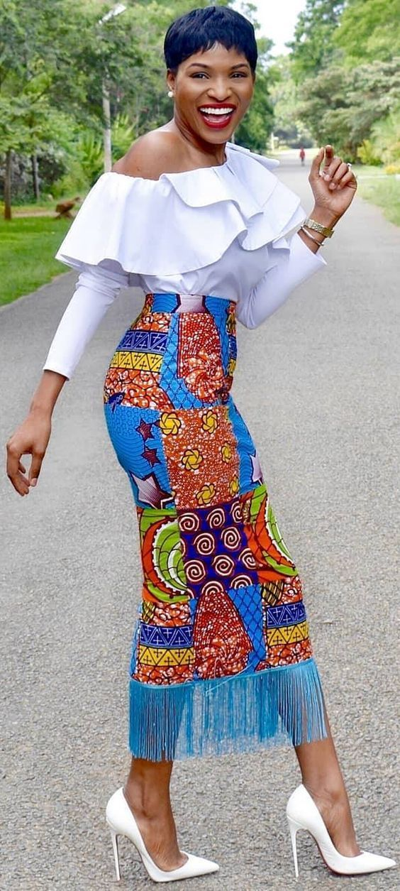 8d73ebad986 white top + african print skirt | Feeling African! in 2019 | African ...