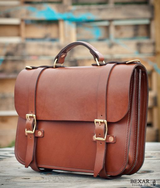 Bexar Goods Co :: Texas Makers of Durable Goods — Hudson Satchel ~ English Bridle Leather ~Briefcase Handmade in the USA