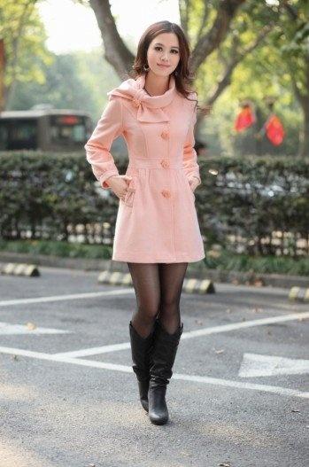 Womens Light Pink Pea Coat