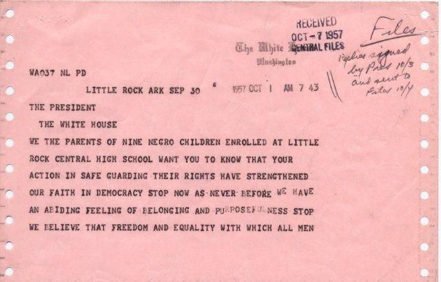 1957 Telegram To President Eishenhower Parents Of Little Rock Nine