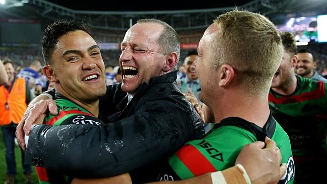 Michael Maguire, Dylan Walker and Jason Clarke celebrate the win in the 2014 NRL Grand Fi