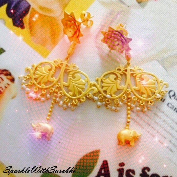 Indian Beauty Blog | Fashion I Lifestyle I SparkleWithSurabhi: Tribe by Amrapali Silver Jewellery -Silver Elephant Charm and Pearl Earrings #tribebyamrapali #amrapalijewels #goldplated