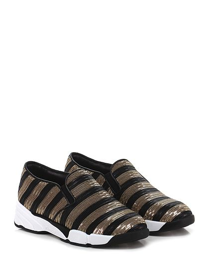 Pinko - Sneakers - Donna - Sneaker in paillettes con suola in gomma, tacco 45, platform 25 con battuta con battuta 15. - NERO\ORO - € 265.00