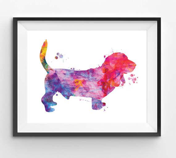 Colorful Basset Hound Watercolor Print Dog Print Dog Digital