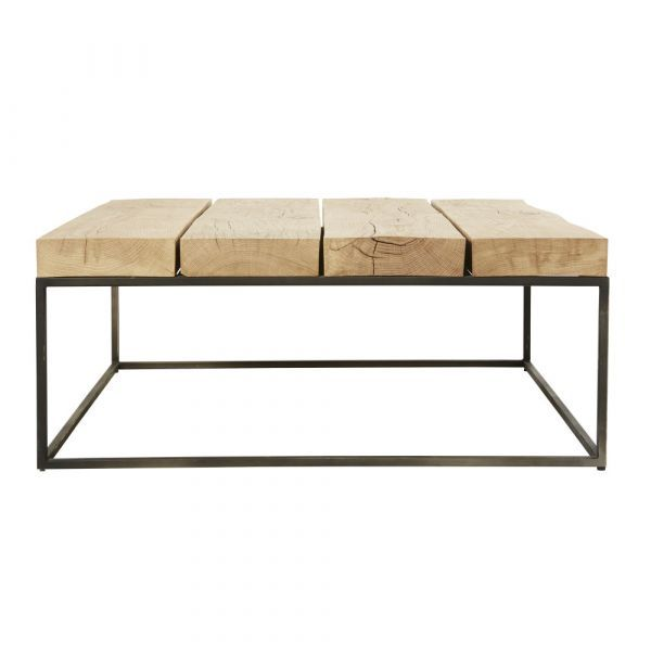 Best Square Black Metal And Solid Oak Coffee Table In 2020 400 x 300