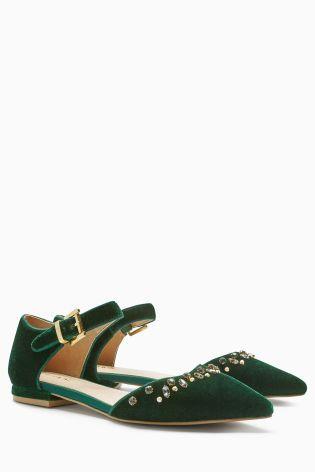 Green Velvet Ankle Strap Points