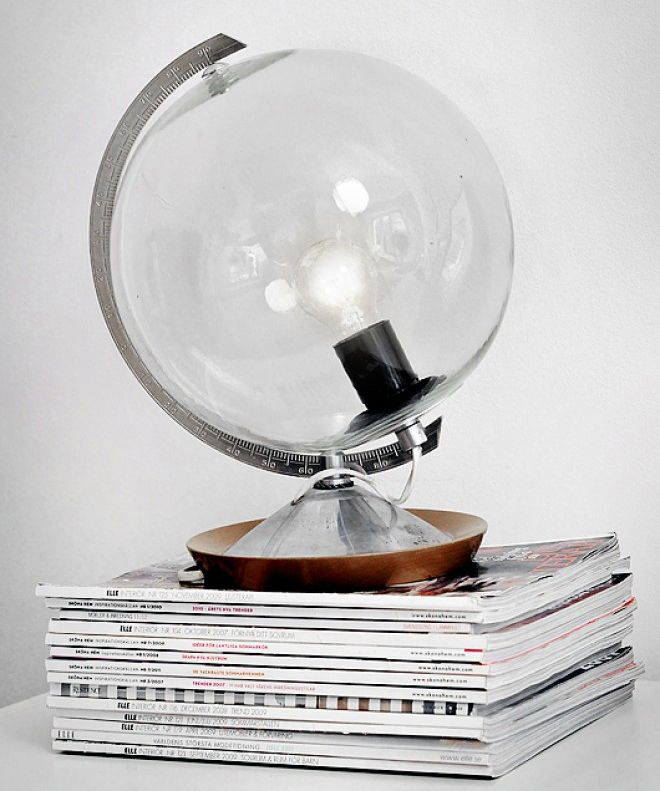 Old Globe Lamp: Peel off the pasted-on paper map from an antique, internally illuminated globe, then polish and clean the glass for a charming lighting solution.