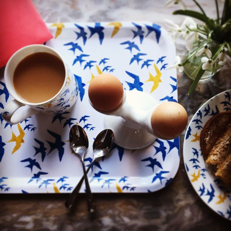 """""""Flock"""" zig zag design tray, £20. This smart serving accessory is a beautiful choice to bring colour and pattern to any home. Featuring original The Humble Cut potato printed artwork they are extremely durable and dishwasher safe up to 95ºC. Handmade in Sweden from birch veneer. Size 36 x 28cm #tray #servingtray #swallows"""