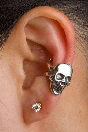 Skull Ear Cuff Silver Skull And Crossbone Ear Cuff  by martymagic