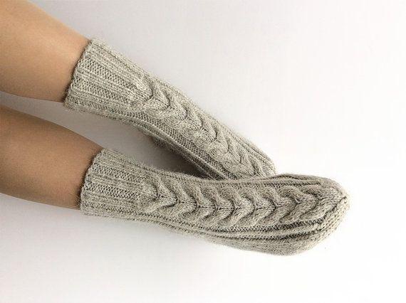 Gray Braided Cable Hand Knit Woolen Socks  Warm Winter by milleta on Etsy www.etsy.com/shop/milleta