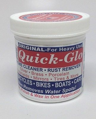 QUICK GLO POLISH CHROME CLEANER RUST REMOVER BIKES BOATS CARS CYCLES NEW 8 OZ. in Sporting…