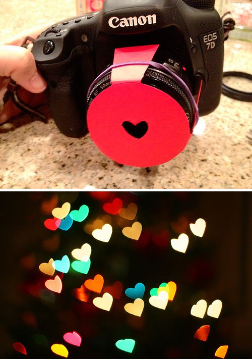 Photography DIY: Hearts Bokeh Lens Hood Tutorial - http://www.thespohrsaremultiplying.com/photo/photography-shaped-bokeh/ and here http://www.diyphotography.net/diy_create_your_own_bokeh