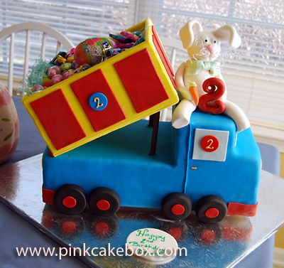 Easter Bunny Dump Truck Cake by Pink Cake Box in Denville, NJ.  More photos and videos at http://blog.pinkcakebox.com/easter-bunny-dump-truck-cake-2008-03-23.htm
