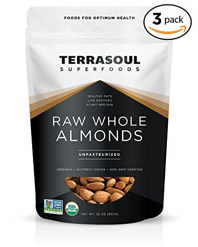 """Terrasoul Superfoods Raw Unpasteurized Organic Almonds (Sproutable), 6 Pounds:   About Terrasoul Superfoods Organic Unpasteurized Almonds:/b Our unpasteurized almonds are truly raw and alive and are never treated by irradiation, ultra high heat, steam or chemically sterilized as required for all domestically grown and sold almonds, even those labeled as """"raw"""". Our almonds are imported from Spain where pasteurization mandated by the USDA is not a requirement. Our unpasteurized almonds a..."""