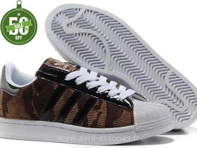 Official Hommes Adidas Chaussures Superstar II Ville Camouflage Brun (Chaussures Adidas Montant Homme Pas Cher)