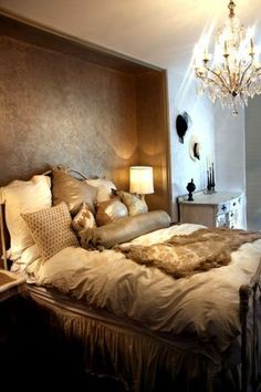 Maybe a metallic gold accent wall. I've got to say, this kind of reminds me of my Moroccan decor obsession.