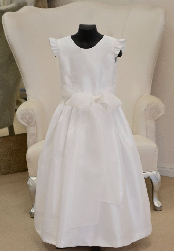 First Communion Dress, Communion Dress ~ Holy First  Communion Dress ~ 1st Communion Dresses ~  Confirmation Dress ~ Flower Girl Dress ~ Graduation Dress ~ Easter Dress / White or Ivory / www.couturesbylaura.com