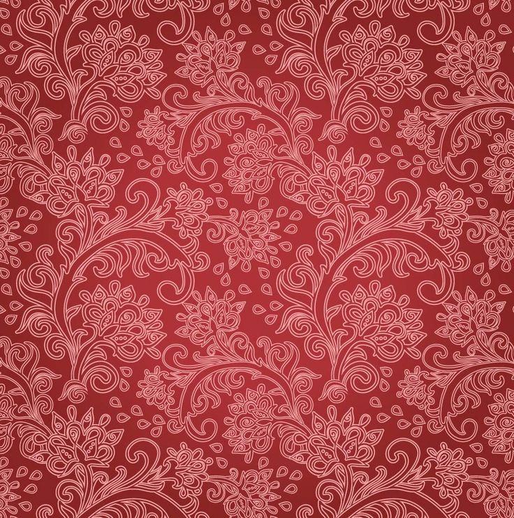 Free Vintage Floral Red Floral Background